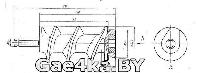 схема размеров шнека для мясорубки МИМ 300
